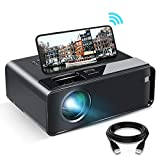 WiFi Projector, ELEPHAS 2020 WiFi Mini Projector with Synchronize Smartphone Screen, 1080P HD Portable Projector with 6500 Lux and 200' Display, Compatible with Android/iOS (Black)