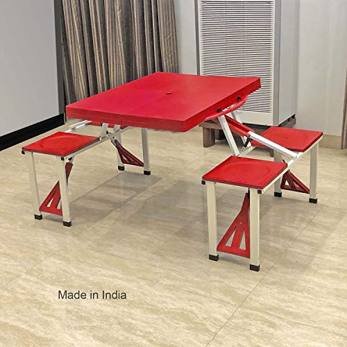 TABLE MAGIC Picnic Table Red 4 Seater Foldable Easy to Carry Best for Home use and Outdoor