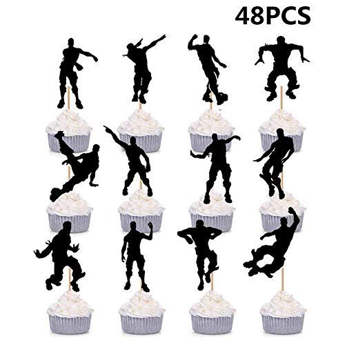 HASAKA 48 Pack Dance Floss Cupcake Toppers para ni?os Fiesta de Cumplea?os Baby Shower Cake Decoration
