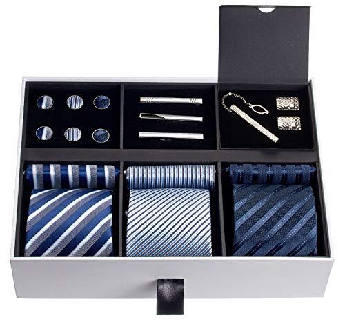 Premium Men's Gift Tie Set Silky Necktie Pocket Squares...