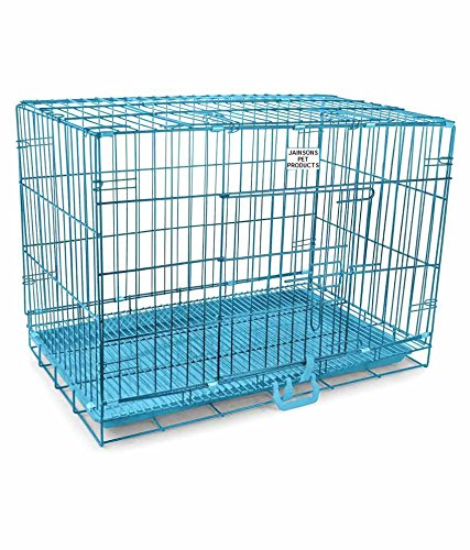 JAINSONS PET PRODUCTS Metal Dog Cage-30 Inch (Sky Blue)