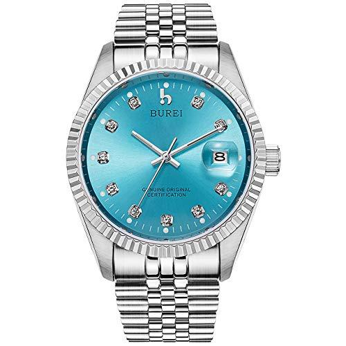 BUREI Herrenuhr mechanische Automatik Armbanduhr 24 Dial Analog Display Automatikuhr Lederband Edelstahlarmband Wasserdicht Stylish Armbanduhren (Blau)