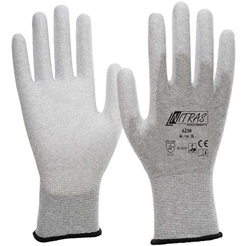 Nitras 6230 - Guanti ESD, antistatici e utilizzabili con il touchscreen, taglia 9/XL