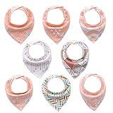 Bavoirs bandana bébé filles de 8 pack-100% coton, doux et absorbants,...