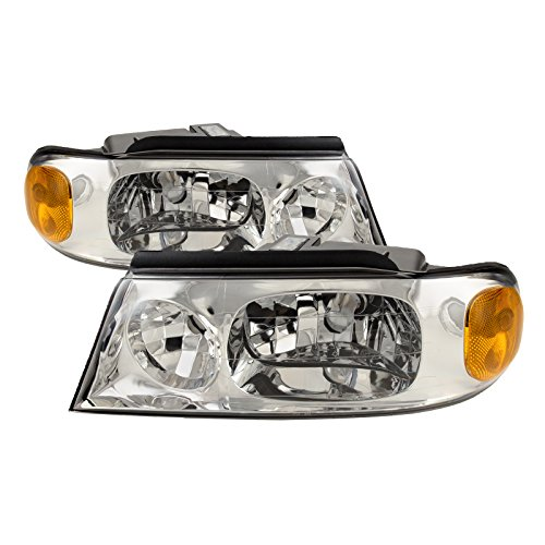 PERDE Compatible with Lincoln Navigator Chrome Housing Headlights Headlamps Performance Lens