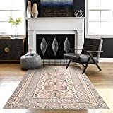 Moroccan Cotton Area Rug 3' x 5', KIMODE Woven Fringe Throw Rugs Farmhouse Modern Geometric Collection Rugs Machine Washable Indoor Floor Runner Rug for Porch Kitchen Bedroom Living Room