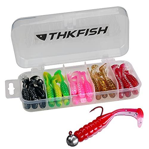 THKFISH 30Pezzi Esche di Plastica Artificiali di Pesca Esche Morbide Swimbait Esche in Plastica per Vermi a Coda di Pagaia Richiamo di Pesca