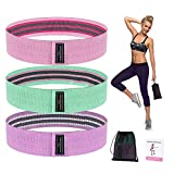Resistance Bands for Legs and Butt, Home/Gym Workout, Elastic Strength Training Bands, Light/Medium/Heavy Resistance Bands, Physical Therapy, Anti-Slip, Carry Bag, Set of 3.