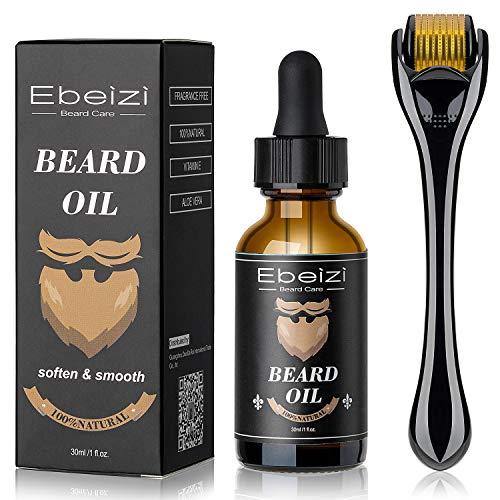 Ebeizi - Kit per la crescita della barba, siero attivatore di olio per la crescita della barba, rullo per la barba per uomini, strumenti per la cura della barba per la crescita rapida e ispessimento
