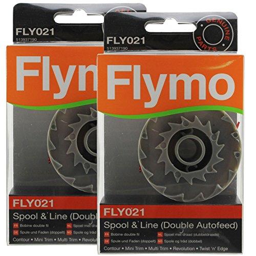 Flymo Genuine Twist 'n' Bordo Strimmer Spool & Line Doppia Autofeed (Confezione da 2, FLY021)