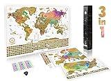 Kit carte à gratter complet (monde, États-Unis et Europe) | 3 cartes à...