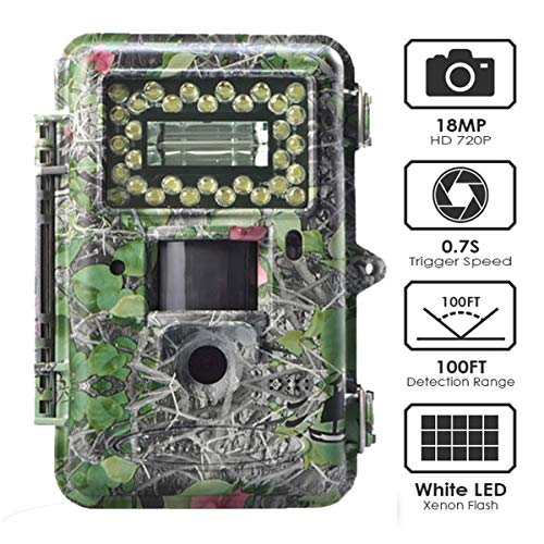 Hunting Trail Game Camera,18MP Scouting Camera 2 LCD 1080P 100FT Detection Range White Flash LED Trail Cameras Support Color Picture and Video at Night