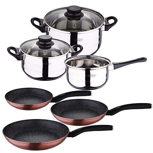 San Ignacio Batteria da cucina 5 pezzi acciaio inox e set 3 padelle 20/24/28, alluminio forgiato, induzione