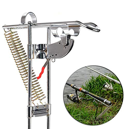 Merkts - Porta canna da pesca automatica, in acciaio inox, con inserto antiscivolo per pesca su fiume, spiaggia, lago, pesca