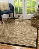 NaturalAreaRugs 100%, Natural Fiber Handmade Basketweave, Seagrass Rug, 2' x 3' Black Border