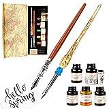 GCQUILL Cadeau Stylo de Calligraphie à Main Set de 2 Stylos à Encre...