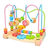 Boby First Bead Maze,Wooden Educational Abacus Beads Circle Kids Toy - Colorful Roller Coaster Activity Game ,Great Gift for Babies Toddlers Girls and Boys