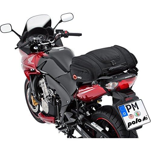 QBag Hecktasche Motorrad Motorradtasche Hecktasche Motorrad Hecktasche 05 Motorradgepäck für Soziussitz/Gepäckträger 22-30 Liter Stauraum leichtes Be-/Entladen inkl. Regenhaube schwarz