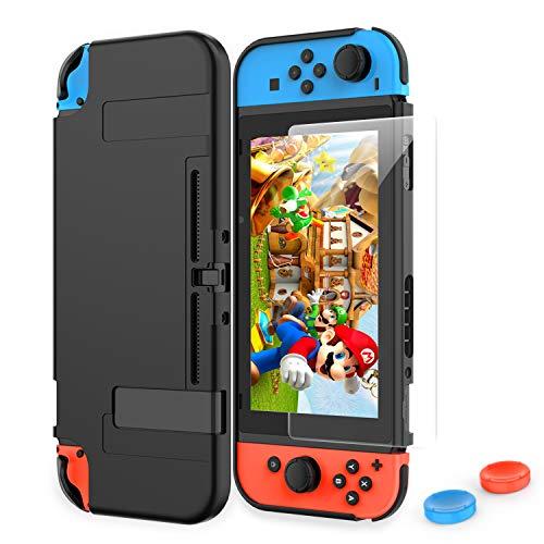 HEYSTOP Funda Nintendo Switch, Carcasa Nintendo Switch con Protector de Pantalla para Nintendo Switch Console y Joy-con con Agarres para el Pulgar