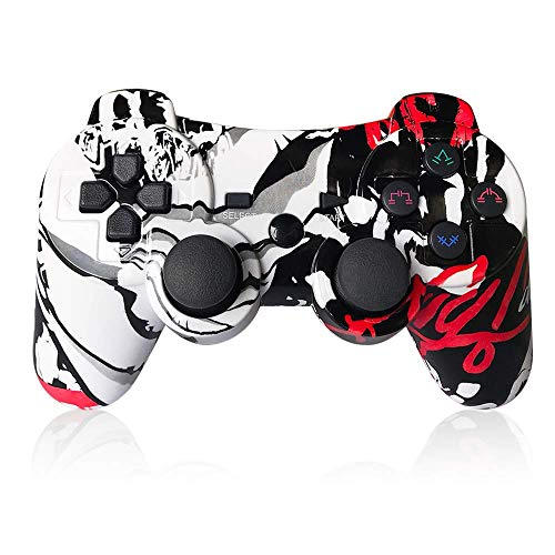 PS3 Controller Wireless 6-axis Dual Shock Gaming Controller for Sony Playstation 3 with Charging Cord (Red Graffiti)