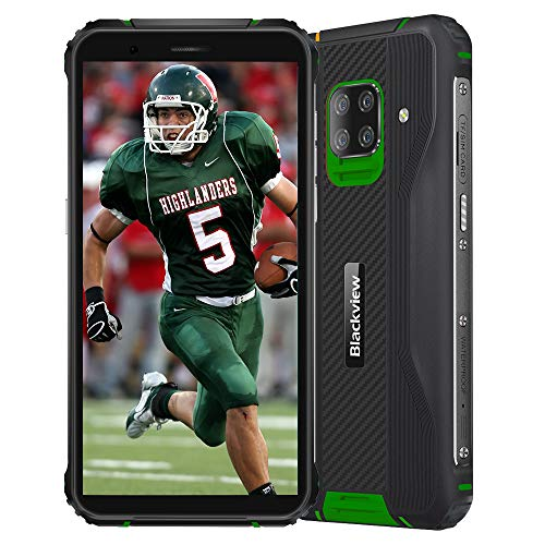 Blackview BV5100 Rugged 4G Smartphones IP68 Android 10, 4GB + 128GB, 16MP + 13MP Camera, Wireless Charging, Unlocked Mobile Phone, HD+ 5.7'', NFC FM Compass Green