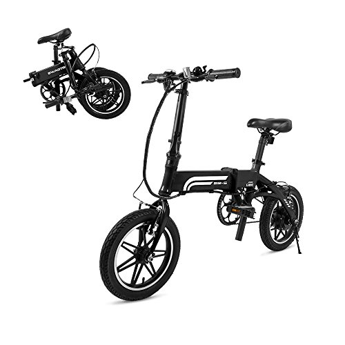 SWAGTRON Swagcycle EB5 Lightweight & Aluminum Folding Ebike with Pedals, Black, 58cm/Medium
