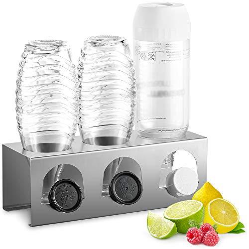 ecooe Abtropfhalter aus Edelstahl Abtropfständer für SodaStream und Emil Flaschen Platz Für 3 Flaschen und 3 Deckel Spülmaschinenfest