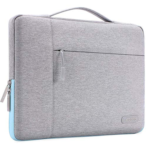 MOSISO Laptop Sleeve Compatible with 13-13.3 inch MacBook Air, MacBook Pro, Notebook Computer, Polyester Multifunctional Briefcase Handbag Carrying Case Bag, Gray&Hot Blue