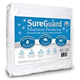 SureGuard Twin Size Mattress Protector - 100% Waterproof, Hypoallergenic - Premium Fitted Cotton Terry Cover - 10 Year Warranty