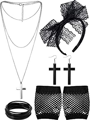 Package includes: 80s party supply includes 1 pair fishnet gloves, 1 pair vintage earrings and 1 piece headband, 1 piece necklace and 10 pieces silicone bracelets; Meet you demands for 80's costume accessories and Halloween Quality material: lace hea...
