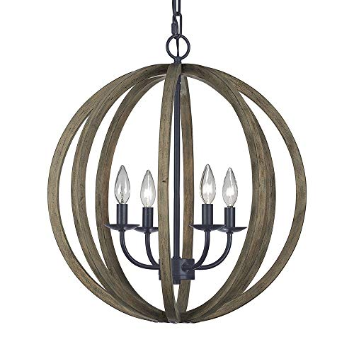 Feiss F2935/4WOW/AF Allier Pendant Lighting, Brown, 4-Light (21'Dia x 23'H) 240watts