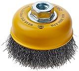 DEWALT Wire Cup Brush, Crimped, Carbon Steel, 4-Inch x 5/8-Inch, 11 HP, .014-Inch (DW49101)
