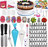 Cake Decorating Supplies. Upgrade 322PCS with 1 Cake Turntable, 48 Numbered Icing Tips, 2  Russian Nozzles, Frosting Spatulas, 100 Cupcake Wrappers, baking kits for Beginners and Cake lovers.