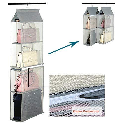 4 scomparti per lorganizzazione dellarmadio, organizer per armadio, da appendere, per riporre borse, in tessuto non tessuto, trasparente, per camera da letto o soggiorno, uso domestico
