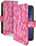 らくらくスマートフォン F-42A ケース 手帳型 携帯ケース 迷彩 ピンク カモフラ おしゃれ ラク……