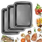 BUZIFU Plat à four - Plaque à Rôtir - Moule à Gâteau/Manqué Carré- Plat à Gratin - Revêtement anti-adhésif Premium - Acier au carbone - Set 3 (35.6*24*5.5cm)
