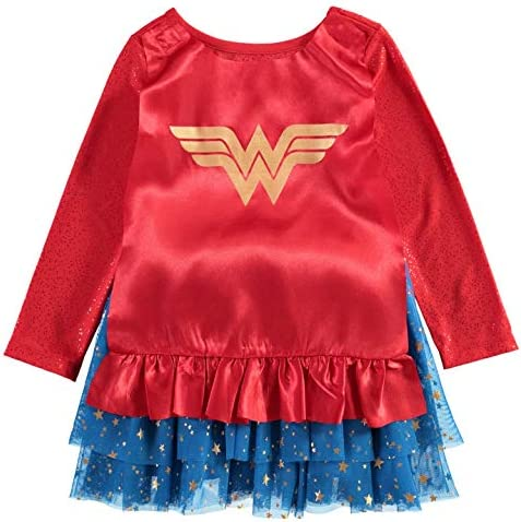 Wonder Woman Toddler Girls' Costume Dress with Tiara and Cape