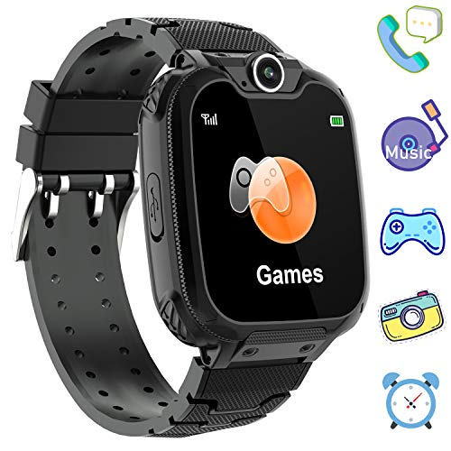 Kids Games Smartwatch Phone - 1.44'' HD Touch Screen Boys Girls Watch with MP3 Player 2 Way Call Camera Clock Voice-Record Calculator for Students Back to School Learning Birthday Gifts, Black