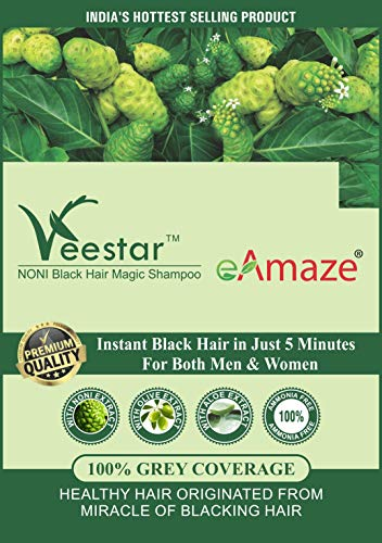 eAmaze NONI Hair Color Shampoo, Natural Black (30 ml X 10 Sachet)   Ammonia Free   Instant Black Hair in Just 5 Minutes   For Both Men & Women