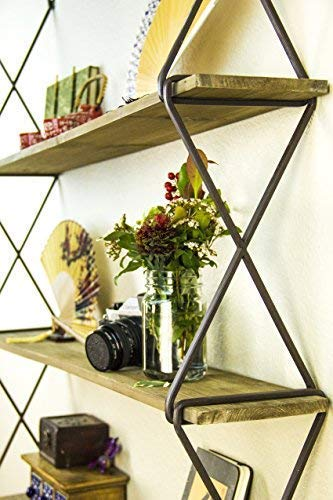 AVIGNON HOME Rustic Floating Wood Shelves 3-Tier Wall Mount Hanging Shelves Book Shelves Industrial Wood Book...