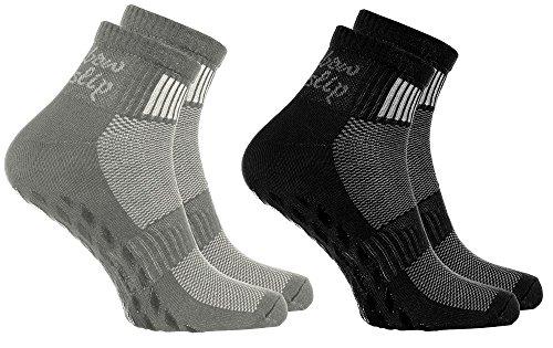 Rainbow Socks - Donna Uomo Sportive Calze Antiscivolo ABS di Cotone - 2 Paia - Negro Grigio - Tamao...