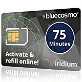 BlueCosmo Iridium 75 Min Prepaid Global SIM Card - Satellite Phone Airtime - 30 Day Expiry - No Activation Fee – No Monthly Fee - Refillable - Rollover - Easy 24/7 Online Activation and Refills