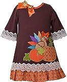 Bonnie Jean Girls Turkey Pumpkin Appliqued Mixed Knit Print Dress (4, Brown)
