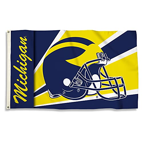 NCAA Michigan Wolverines 3-by-5 Foot Flag with Grommets - Helmet Design