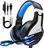 NPET HS10 Stereo Gaming Headset for PS4, PC, Xbox One Controller, Noise Cancelling Over-Ear Headphones with Mic, Soft Memory Earmuffs, LED Backlit, Volume Control