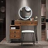 Table Set Makeup Vanity Dressing Table with 3 Colors Lighted Mirror, 1 Storage Cabinet & 2 Drawers, Dressing Makeup Table with Cushioned Stool, for Girl, Women, Dresser Desk for Bedroom, Brown