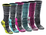 Dickies Women's Dri-tech Moisture Control Crew Socks Multipack, Black Heathered (6 Pairs), Shoe Size: 6-9