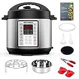 Rozmoz 14-in-1 Electric Pressure Cooker,6 Quart, rice cooker, slow cooker, steamer, saute pan, yogurt maker, food warmer (Stainless Steel)