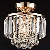 "MonDaufie Gold Crystal Chandelier Semi Flush Mount Ceiling Light,D10""Ceiling Light Fixture for Hallway Entryway Living Room Bedroom, French Gold"