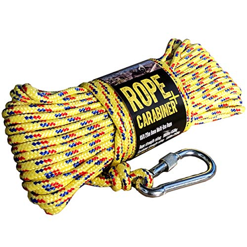 CactusBloom Rope and Locking Carabiner Clip – 65 feet / 20 Meters...